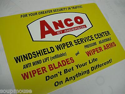 "Vintage,ANCO,By Anderson,Wiper Blades,Windshield Wiper Service,Alum,Sign,18""x12"""