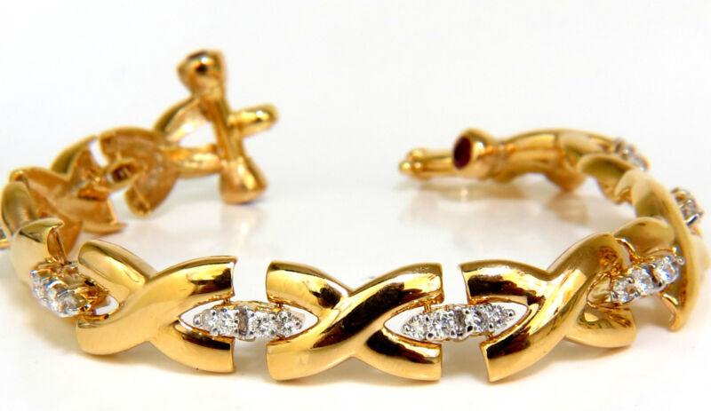 """2.50ct Diamonds Ruby Toggle """"x"""" Link Bracelet 14kt G/vs +"""