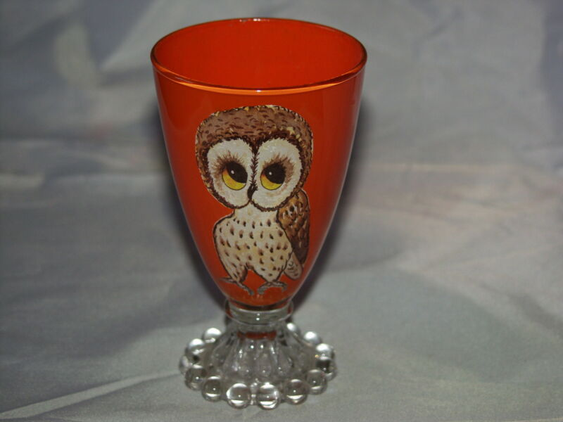 "Boopie Bubble Stemware - Orange With Owl - 5 3/8"" Tall"