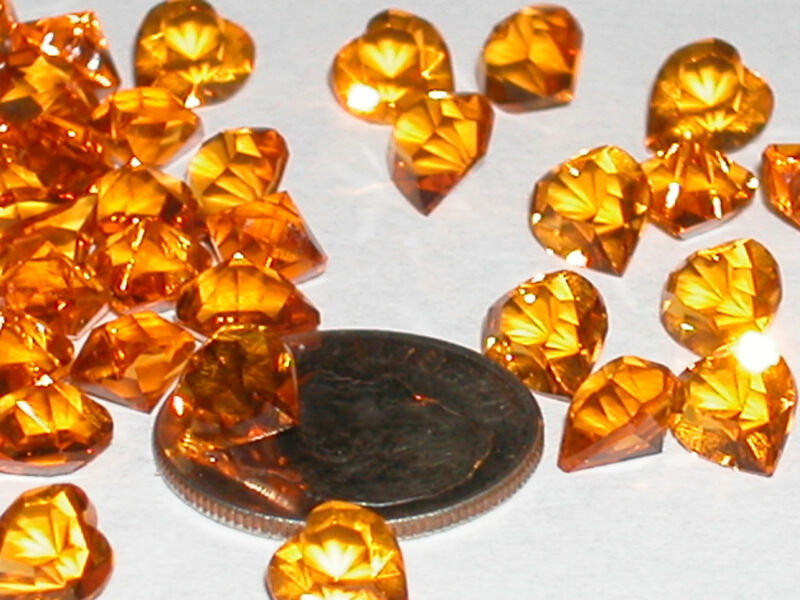 12pc lot Vintage little Amber crystal SWAROVSKI Hearts unfoiled no hole 6x6.6mm