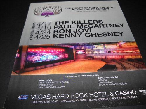 THE KILLERS McCartney BON JOVI Kenny Chesney VEGAS HARD ROCK Promo Poster Ad