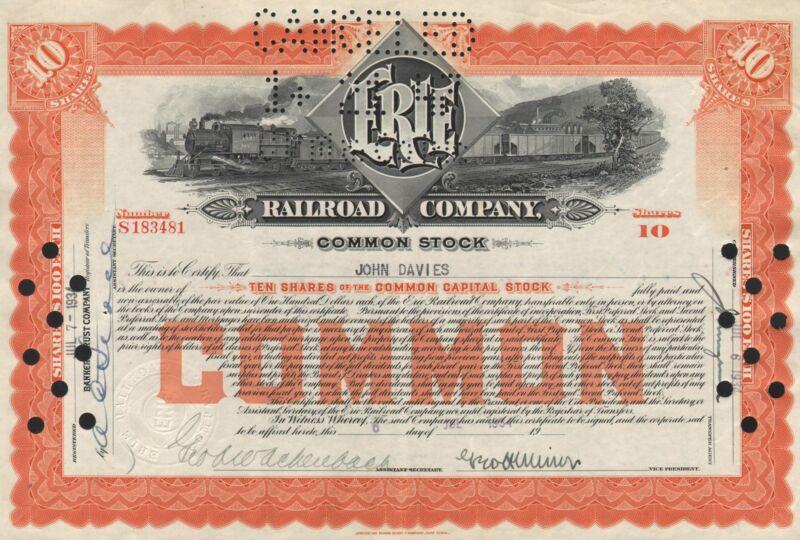 USA ERIE RAILROAD CO stock certificate CM STOCK 1934