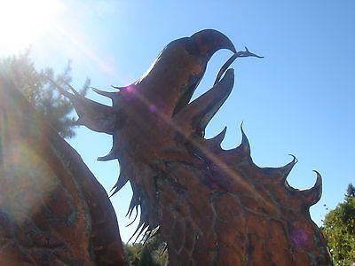 Amazing American Folk Artist Signed Glorious Winged Griffin Copper Weathervane