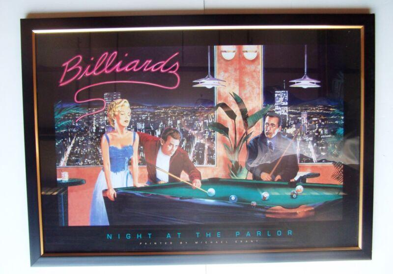 Billiards NYC Pool room Marilyn Monroe Dean Bogart print Framed Under UV Glass