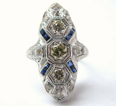 (Fine Platinum Old European Cut Diamond & Gem Sapphire Ring 1.00CT)