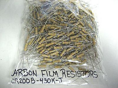 Lot Of 400 New Rfe Carbon Film Resistors Cr200b-430k-j  2w 430k Yk-05