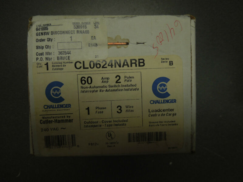 Challenger Cutler Hammer CL0624NARB 60 amp 2 pole 1 phase 3 wire