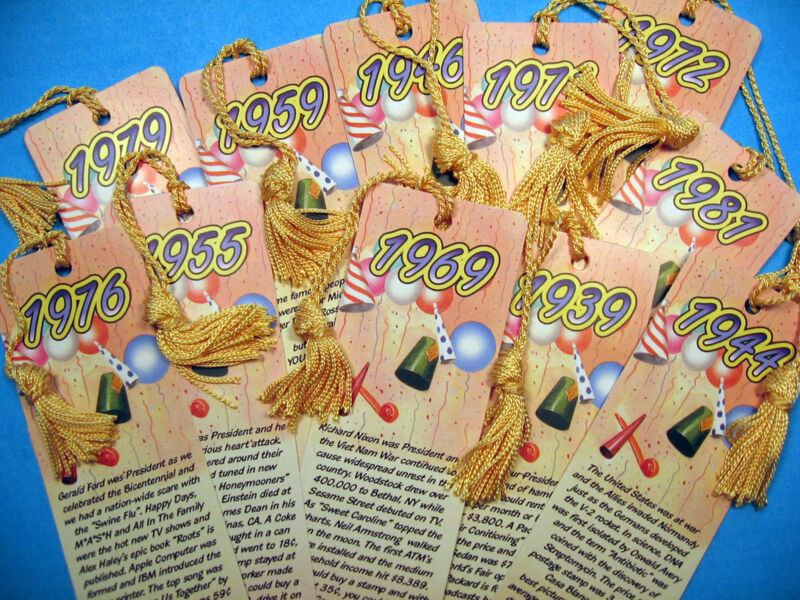 Year Of Birth - 1Tassel Bookmark Personalized for Birth Year Historical Facts