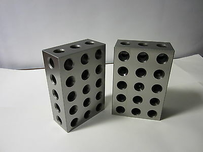 2-4-6 Precision Block Pair 23 Hole Set Up Block Pair 0.0002 701-246 -new