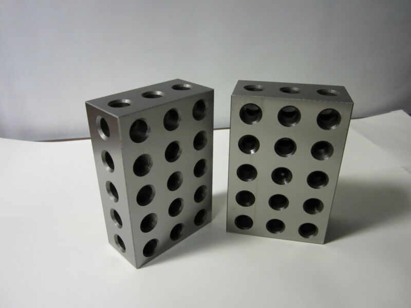 "2-4-6"" precision block pair 23 hole set up block pair 0.0002"" #701-246 -new"
