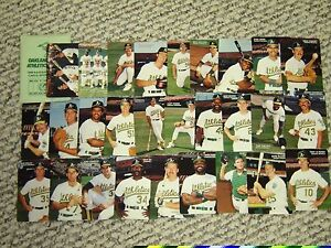1989 MOTHERS COOKIES OAKLAND A'S SGA COMPLETE SET - TEAM ISSUE