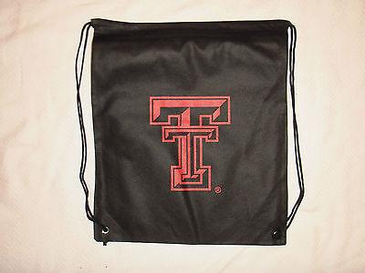Logo Drawstring Backpack - Texas Tech Red Raiders Drawstring Backpack Book Bag Cinch Pack Black & Red Logo