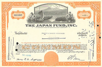The Japan Fund > stock certificate share scripophily