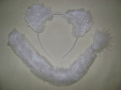 White Snow Leopard/Cat/Polar Bear/Tiger Ears & Tail Set
