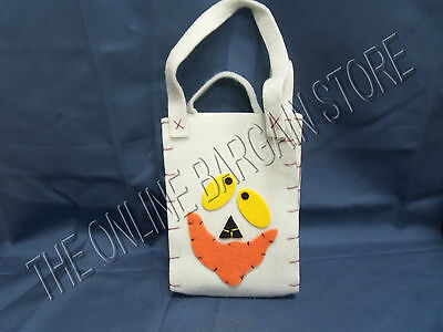 Halloween Trick Or Treat Small Ghost Felt Bag Tote Costume Silly Face White