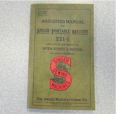 SINGER Featherweight 221 Machine Shop Repair ADJUSTER'S Service Servicing Manual