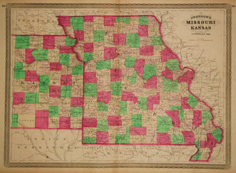 1865 Genuine Antique Hand Colored Map of Missouri & Kansas. Johnson