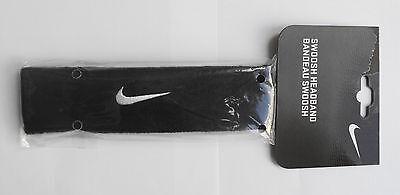 *Nike Swoosh Headband Head Band Headband - Black - Tennis Running Sports - NEW