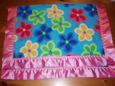 Baby bedding-Handmade Blue Floral fleece Blanket with Cerise Pink Satin Binding