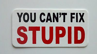 3 - You Cant Fix Stupid Roughneck Hard Hat Oil Field Tool Box Helmet Sticker