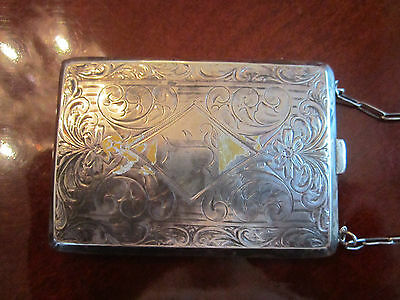 STERLING SILVER LADIES' MONEY PURSE-2.7 OUNCES-COIN/PAPER MONEY HOLDER & CHAIN