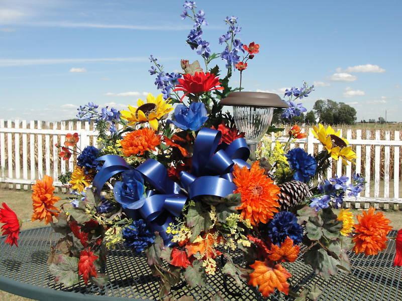 Tax Rebate Memorial Gravestone Cemetery Headstone Tombstone Saddle Orange Blue