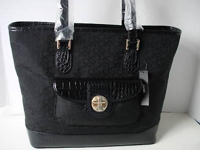 DKNY Turn Lock with Croc Bag Handbag Sac Bolsa Tote BlackMSRP $ 195 NWT comprar usado  Enviando para Brazil