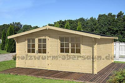 34 mm Gartenhaus 500x400cm LEIPZIG 6 Gerätehaus Holzhaus Blockhaus Holz Freisitz