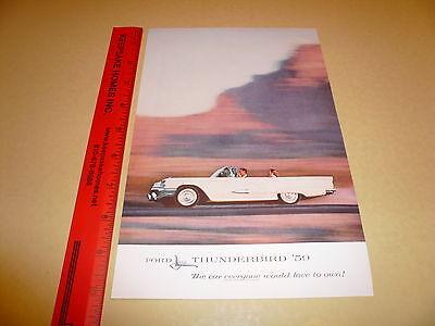 1959 Ford Thunderbird T-Bird Convertible Ad Advertisement Vintage