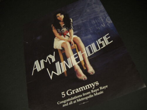 AMY WINEHOUSE 5 Grammys CAPTIVATING 2008 Promo Poster Ad mint condition