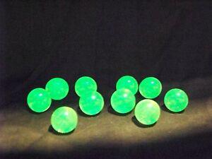 10 ULTRAVIOLET ( UV ) FLUORESCENT VASELINE URANIUM GLASS 9/16 MARBLES (ID156999