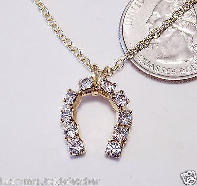 "Lucky Horseshoe Necklace, Prong-Set Sparkly Rhinestone Pendant, 18"" GT, NEW"