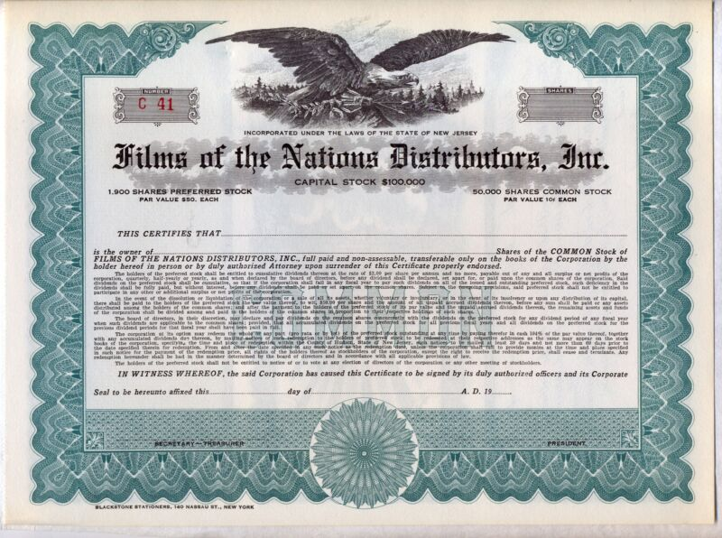 Films of the Nations Distributors Inc. Stock Certificate New Jersey