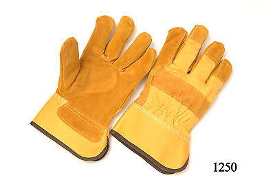 (WORK GLOVES LEATHER PALM RUBBERIZED CUFF LINED PALM LARGE)
