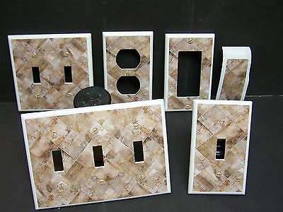 LIGHT SWITCH COVER PLATE OR OUTLET STONE TILE DESIGN SHADES OF BROWN  Light Switch Cover Stone