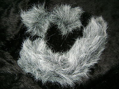 Gray Cat Ears And Tail (Dog Cat Wolf Ears And Tail Instant Fancy Dress Set Grey/White Tipped Faux Fur)