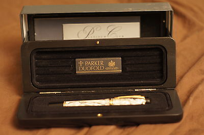 Parker 1994 Duofold  Pearl & Black FP box and papers