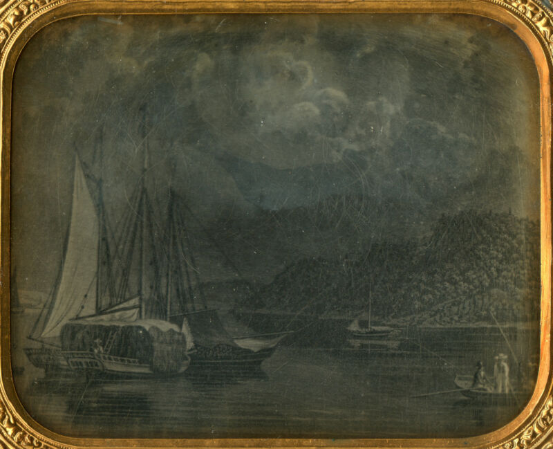 DAGUERREOTYPE NAUTICAL SCHOONER SHIP BOAT FISHING HUDSON VALLEY STYLE PAINTING