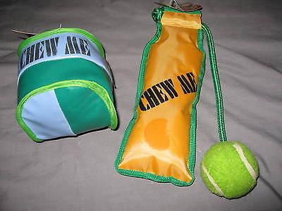 Dog Vinyl Chew Toy Bag Tennis Ball Pet Puppy Play Squeaker Green NEW!