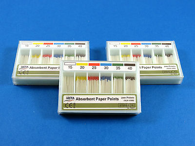 New Dental Absorbent Paper Points Color Coded No 1540 Meta Set Of 3 Boxes