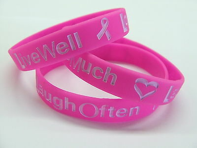 LIVE LOVE LAUGH  Breast Cancer Wristband Ribbon PINK Charity Bracelet wrist band