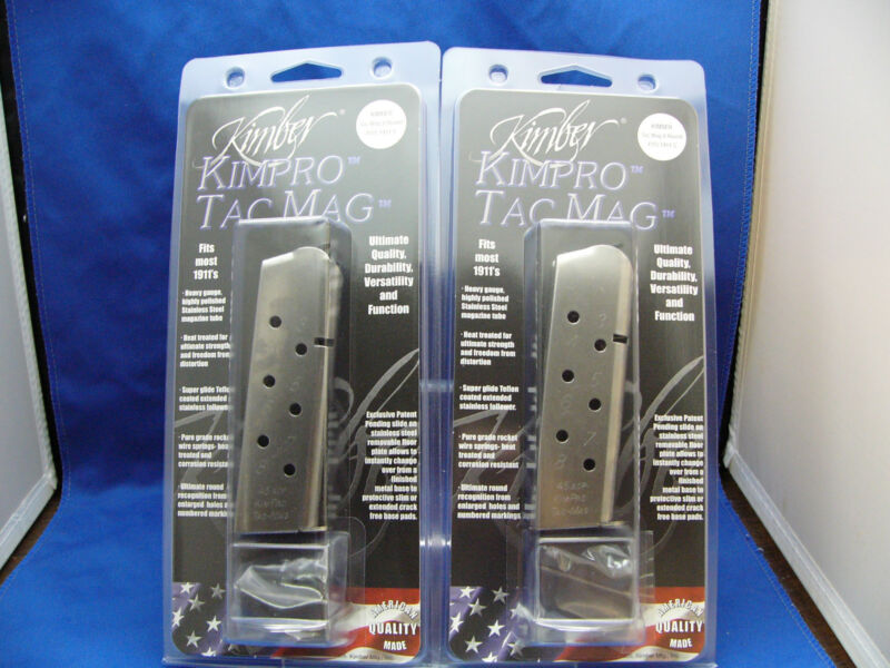 TWO Factory Kimber Tac Mag 1911 Magazine 45 ACP Stainless Full Size 8 Rd CLIP