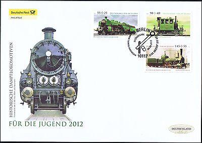 BRD 2012: Dampflokomotiven! Post-Riesen-FDC der Jugendmarken Nr. 2946-2948! 1801