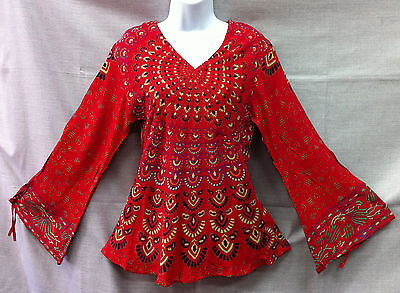 Indian Womens Ladies Peacock Hippie Boho Shirt Top Cotton Red Cotton Hippie Shirt