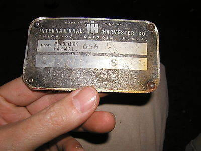 1965 Farmall 656 Rowcrop Tractor Original Ih Serial Number Tag 12373 S First Yr