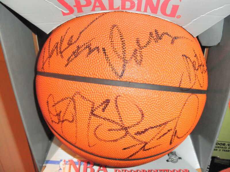 1990'S SIGNED NBA BASKETBALL BY 9 ALL STARS IN PERSON PROOF COA! JOHN STOCKTON