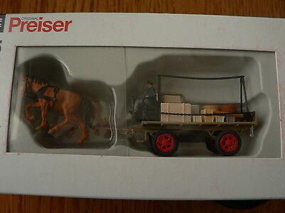 Preiser Ho # 30434 Horse-Drawn Wagen Flachbett Wagen W / Fahrer, Pferde & Cargo