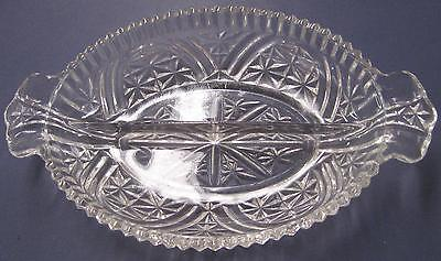Clear Glass Oblong Oval Candy Snack Dip Divided Dish Bowl 10.25 x 6.5 in