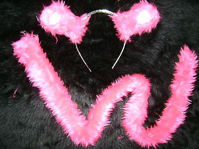 Bright Pink Panther Ears And Tail Set Extra Long 35