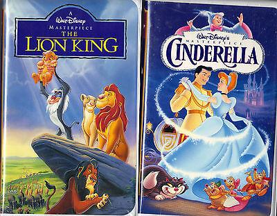 The Lion King (VHS, 1995) & Walt Disney Masterpiece Cinderella (VHS, 1995);2 VHS